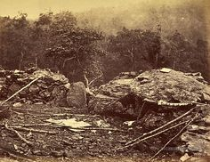 Interior of Breastworks on Round Top, Battlefield of Gettysburg. Pennsylvania. J