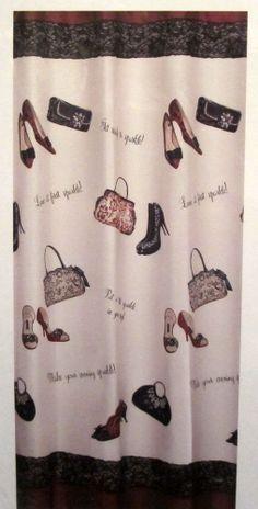 Chantilly Saturday Knight Fashion High Heel Shoes Purses Fabric Shower Curtain