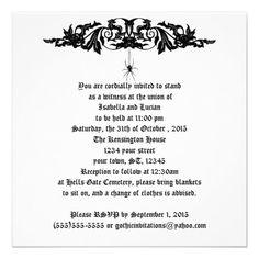 Black Widow Wedding Goth Wedding Personalized Announcements for a Gothic or Halloween wedding.