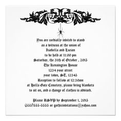 Black Widow Wedding Goth Card