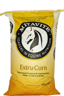 Extru® CornMitavite® Extru® Grains: Provide effective, safe feed-room options. Corn has long been used as an energy source in horse feeds. In its raw form it is poorly digested and when cracked, it oxidises quickly resulting in reduced nutritional value. Mitavite® steam-extruded Extru® Corn is palatable, highly digestible and locks in the nutritional value for longer. Also available in Mitavite® bulka bags.