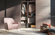 Warm is a elegant wardrobe with luxury leather door panels.