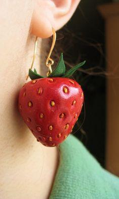 Strawberry earring....Sculpey Ultralight inside, Sculpey III, acrylic paint, studio by sculpey glaze.