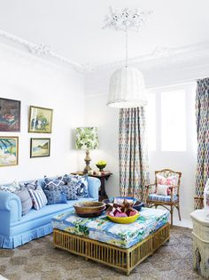 Anna Spiro Design | Black & Spiro Design | Ocean Blue Couch | Pleated Couch Skirt | Large Upholstered Ottoman Cushion | | Fabric | Peter Dunham's Fig Leaf Print Lamp