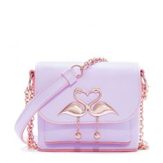 Orchid bouquet leather mini shoulder bag finished with rose gold chain and flamingo fastening. Flirty bag guaranteed to brighten any outfit.