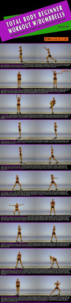 Total Body Workout. This #workout is for beginners but is effective for any #fitness level! Just adjust the size of weights to make it more challenging if necessary. Tone and strengthen your body while burning calories. Click image to see the moves in GIF form. #exercise #abs #weightloss #health #muscles
