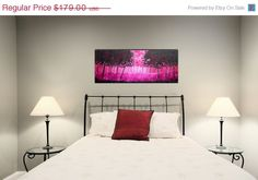 "On Sale Large Contemporary Abstract Tree Painting Pink Magenta Fantasy Landscape Fine Art on Deep Canvas Tree Modern 16x40x1.5"" JMS. $134.25, via Etsy."