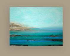 "Turquoise Ocean Painting Original Acrylic Abstract Art Titled: High Tide 7 36x48x1.5"" by Ora Birenbaum #buyart #cuadrosmodernos #art"