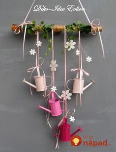 Window hanger with small watering cans . Four small watering cans, plus white ., Window hanger with small watering cans . Four small watering cans, plus white wood flowers and a little artificial. Diy And Crafts, Crafts For Kids, Diy Ostern, Wood Flowers, Spring Crafts, Easter Crafts, Fall Decor, Spring Decorations, Diy Home Decor