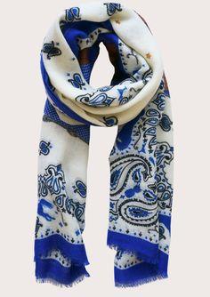 Long Wool Cowgirl Scarf white (styled) - Cleo Ferin Mercury - designer wool scarf.jpg