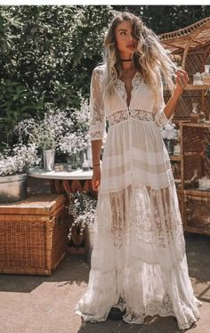 Sexy Deep V lace See-Through Bracelet Sleeve Long Vacation Maxi Dress – streetstylepop Outdoor Wedding Dress, Luxury Wedding Dress, Bohemian Wedding Dresses, Bohemian Formal Dress, Estilo Hippie Chic, Hippie Style, Bohemian Style, Robes Western, Western Dresses