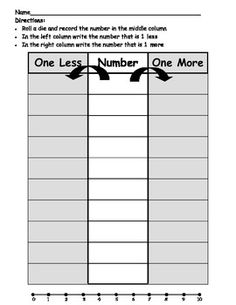 This is a 2 page math game created for young learners to practice counting and identifying one more and one less than a given number.