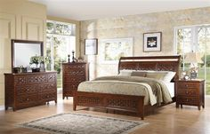 Carmela Traditional Walnut Wood Master Bedroom Set