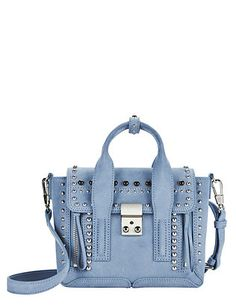 3.1 Phillip Lim Mini Pashli Studded Suede Blue Satchel