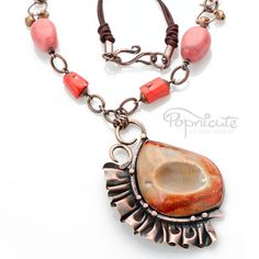 Unique Copper Ruffle Necklace Peach Pink Drusy Crystal Agate Handmade by #Popnicute. $330. #copper #peach #agate #drusy #coral #marble #unique #cute #handmade #jewelry #ruffles #metal #rivet #artisan #original #leather