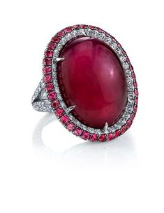 40.42 carat Oval Ruby Cabochon Ring by Martin Katz