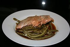 salmon and green beans. think i would use tilapia or swai because thats what i already have