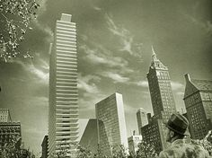 """Chesley Bonnestell Matte Painting for """"The Fountainhead,"""" Howard Roark, Western World, Matte Painting, Willis Tower, Art Direction, Good Movies, Fantasy Art, Perspective, New York Skyline"""