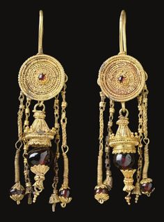 A Pair Of Greek Gold & Garnet Earrings  --  Hellenistic Period  --  Late 4th Century BCE  --  Via Christie's