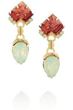 Gold-plated Swarovski crystal drop earrings by Elizabeth Cole