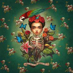 An interpretation of Frida Kahlo by Benjamin Lacombe.
