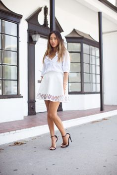 White Shirt and White Cut-Out Skirt