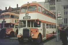 Leyland PD2's awaiting passenger embarkation Stockport Town Centre (1968)