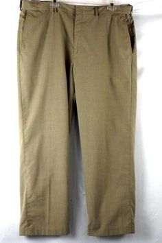 Haggar Men's Size 42X30  Flat FrontExpandable Brown White Checkered Dress Pants  #Haggar #DressFlatFront
