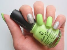 China Glaze Grass is Lime Greener & IsaDora Diamond Crush China Glaze, Grass, Lime, Nail Polish, Nail Art, Diamond, Random, Nails, Beauty