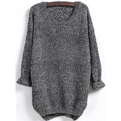 Black Long Sleeve Dipped Hem Loose Sweater ($24) ❤ liked on Polyvore featuring tops, sweaters, loose fit sweater, long loose sweaters, long loose tops, round top and long tops