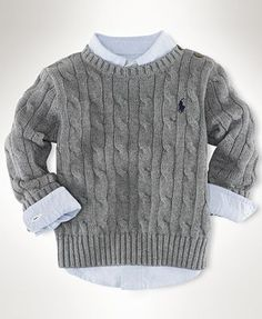 Ralph Lauren Baby Sweater, Baby Boys Classic Cable Crew Neck Sweater