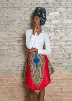 Dashiki African Print V Skirt - Red Style