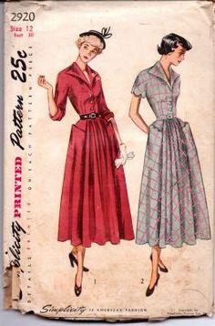Simplicity 2920 Ladies One-Piece Shirtwaist Dress Vintage Sewing Pattern Vintage Dress Patterns, Vintage Dresses, Vintage Clothing, Ladies One Piece Dress, Vintage Fashion, Vintage Style, Women's Fashion, Vintage Glam, Vintage Paper