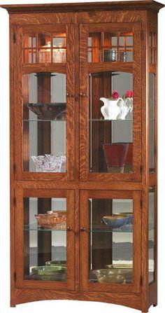 Amish Tall 4-door Curio Cabinet