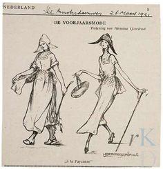 Hermina IJzerdraat De voorjaarsmode Prent/illustratie opgenomen in De Groene Amsterdammer, 26 maart 1921 #NoordHolland #Volendam