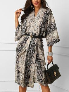 Snakeskin Print Deep V Shirt Dress