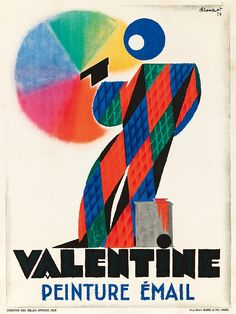 * Peinture Valentine. 1928 CHARLES LOUPOT (1892-1962) An extraordinarily rare and inspired design by Loupot in which a stylized Deco figure spray paints a circular rainbow on a white wall. Unlike many of his other posters from the period, Loupot chooses to stray from his typical primary color palette in order to better showcase the fine gradations available when using Valentine paints.