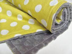 Yellow Baby Blanket Polka Dots and Grey Minky by ButterBrickleBaby, $32.00