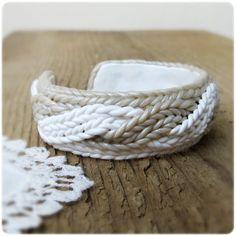 Bangle Bracelet imitating knitting Polymer clay Christmas sale. $38.27, via Etsy.