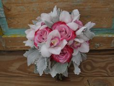 Pink Farfalla roses, white cymbidiums and dusty miller ~ designed by Fleurt Floral Art