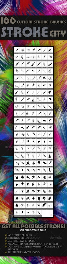Stroke Brushes - The Stroke City #GraphicRiver 166 Custom Brushes – The Stroke City is a Set of Photoshop brushes best suited for the use in text effects, cartoon, paint or splatter effects. Also achieve great result using them in photo manipulation. All these brushes are designed in such way that you can combine multiple brushes to create new stroke designs. Created: 28July13 Add-onFilesIncluded: PhotoshopABR MinimumAdobeCSVersion: CS Tags: abr #artisticbrushes #brushes #cartoon #custom…