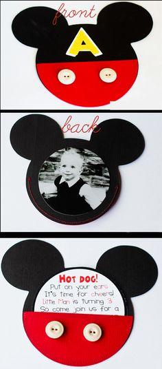 mickey mouse birthday invitations... good idea for Nicholas' birthday