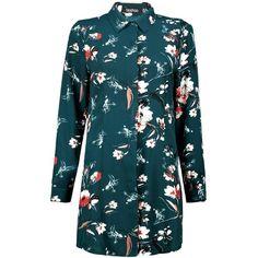 Boohoo Basics Mary Long Sleeve Floral Shirt Dress (2.490 RUB) ❤ liked on Polyvore featuring dresses, floral cocktail dresses, t-shirt dresses, blue long sleeve dress, long sleeve floral dress and shirt dress