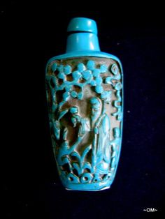 TURQUOISE Antique Snuff Bottle Hand carved with stopper