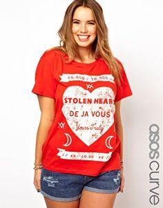 ASOS CURVE T-Shirt With Stolen Heart Print us.asos .com