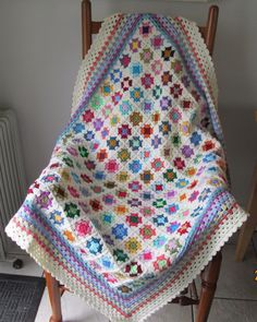 ee73ad3f82 Details about Handmade multi-coloured OOAK crocheted patchwork granny  square blanket