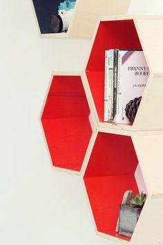 Orange Floating Honeycomb Shelves  Set of 3 by HandmadeRiot