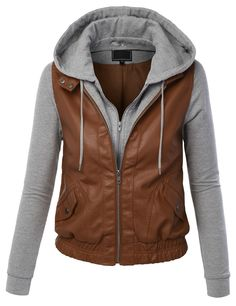 LE3NO Womens Faux Leather Zip Up Moto Biker Jacket With Hoodie 0f264283be