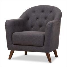 Baxton Studio Lotus Mid-Century Modern Dark Grey Fabric Upholstered Walnut Wood Button-Tufted Armchair