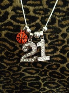 "18"" Personalized Rhinestone Sports Jersey TWO 1"" Numbers Necklace BASKETBALL Charm Basketball MOM/Player. $17.99, via Etsy."